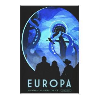Europa Space Travel Retro Art Canvas Print
