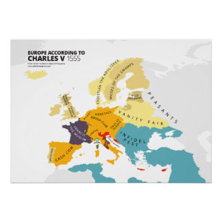 Europe According to Charles V, Holy Roman Emperor Poster