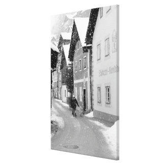 Europe, Austria, Hallstat. Snowy street Stretched Canvas Print