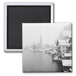 Europe, Austria, Hallstat. Town view in the snow Square Magnet