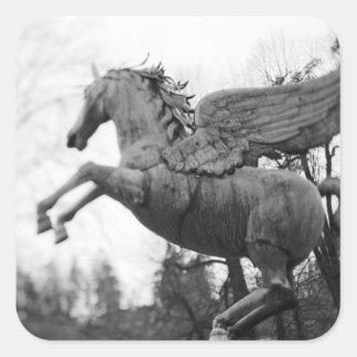 Europe, Austria, Salzburg. Winged horse statue, 2 Square Sticker