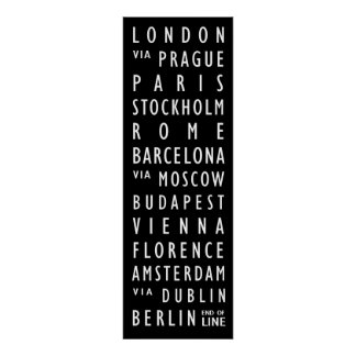 Europe Cities Vintage Transit Scroll Poster