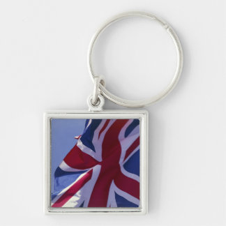Europe, England, British flag Silver-Colored Square Key Ring