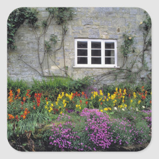 Europe, England, Teffont Magna. Flowers fill Square Sticker