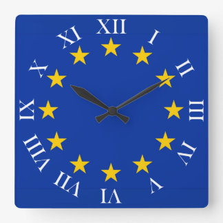 Europe flag square wall clock