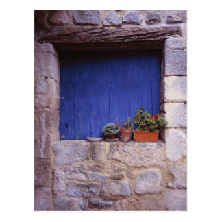 Europe, France, Cereste. A blue door adds color Postcard