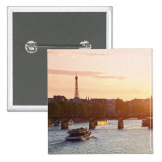Europe, France, Paris (75), Tourist Boat on 15 Cm Square Badge