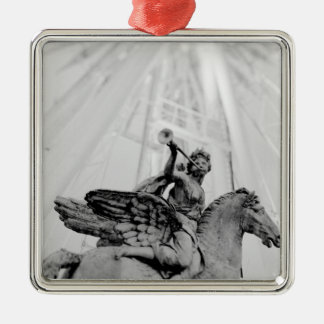 Europe, France, Paris. Statue and Ferris Wheel, 2 Silver-Colored Square Decoration