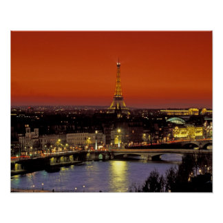 Europe, France, Paris. Sunset view of Eiffel Poster