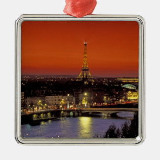 Europe, France, Paris. Sunset view of Eiffel Silver-Colored Square Decoration