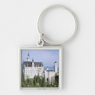 Europe, Germany, Neuschwanstein Castle, built Silver-Colored Square Key Ring