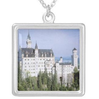 Europe, Germany, Neuschwanstein Castle, built Square Pendant Necklace