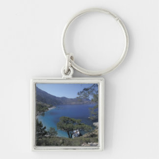 Europe, Greece, Karpathos, Dodecanese; Apella Silver-Colored Square Key Ring