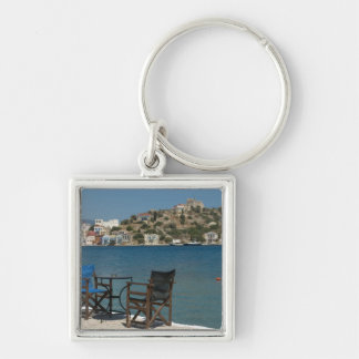 Europe, Greece, Kastellorizo: chairs on the edge Silver-Colored Square Key Ring