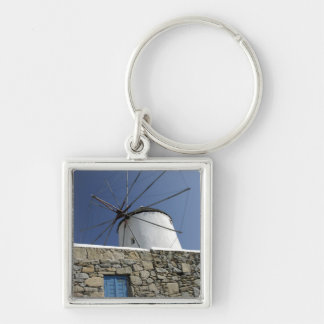 Europe, Greece, Mykonos. 2 Silver-Colored Square Key Ring