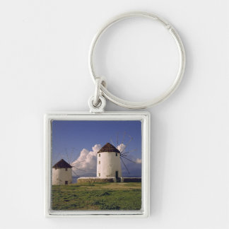 Europe, Greece, Mykonos. White-washed Silver-Colored Square Key Ring