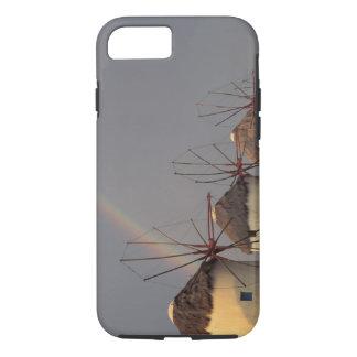 Europe, Greece, Mykonos. wind mill with rainbow iPhone 7 Case