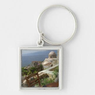 Europe, Greece, Peloponnese, Monemvasia (single Silver-Colored Square Key Ring