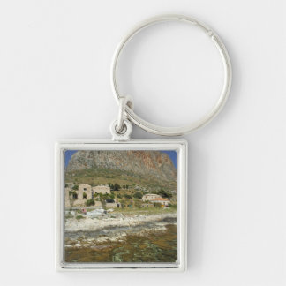 Europe, Greece, Peloponnese, Monemvasia. The 2 Silver-Colored Square Key Ring