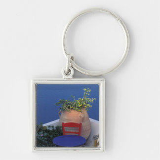 Europe, Greece, Santorini. Terrace with sea view Silver-Colored Square Key Ring