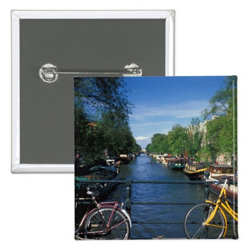 Europe, Holland, Amsterdam, yellow bicycle and Pinback Button