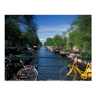 Europe, Holland, Amsterdam, yellow bicycle and Postcard