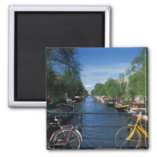 Europe, Holland, Amsterdam, yellow bicycle and Square Magnet