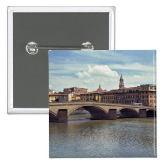 Europe, Italy, Florence. The Arno River flows 15 Cm Square Badge