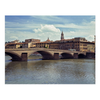 Europe, Italy, Florence. The Arno River flows Postcard