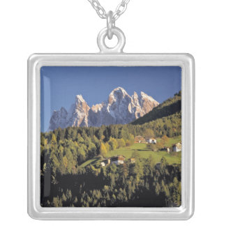 Europe, Italy, San Pietro. The Odle Group seem Square Pendant Necklace