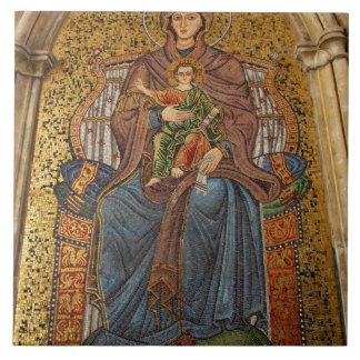 Europe, Italy, Sicily, Taormina. Madonna & child Large Square Tile