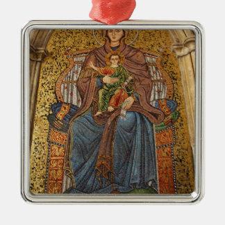 Europe, Italy, Sicily, Taormina. Madonna & child Silver-Colored Square Decoration