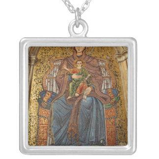 Europe, Italy, Sicily, Taormina. Madonna & child Square Pendant Necklace