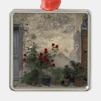 Europe, Italy, Tuscany, Chianti, Tuscan doorway; Silver-Colored Square Decoration