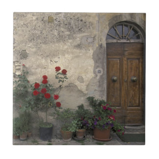 Europe, Italy, Tuscany, Chianti, Tuscan doorway Small Square Tile