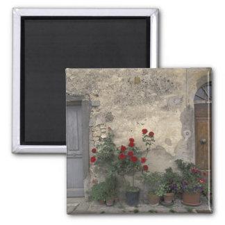 Europe, Italy, Tuscany, Chianti, Tuscan doorway; Square Magnet