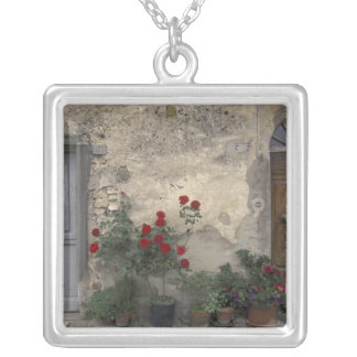 Europe, Italy, Tuscany, Chianti, Tuscan doorway; Square Pendant Necklace