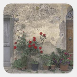 Europe, Italy, Tuscany, Chianti, Tuscan doorway; Square Sticker