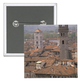 Europe, Italy, Tuscany, Lucca, Town panorama 15 Cm Square Badge