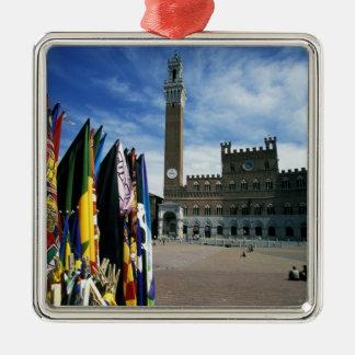 Europe, Italy, Tuscany, Siena. Piazza del Silver-Colored Square Decoration