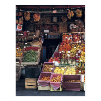 Europe, Italy, Venice area. Colorful fruits and Postcard