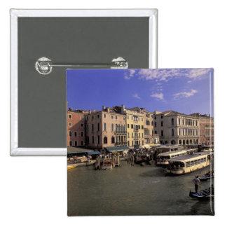 Europe, Italy, Venice, Boat traffic by Rialto 15 Cm Square Badge