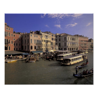Europe, Italy, Venice, Boat traffic by Rialto Poster
