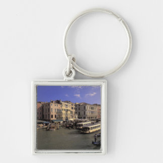Europe, Italy, Venice, Boat traffic by Rialto Silver-Colored Square Key Ring