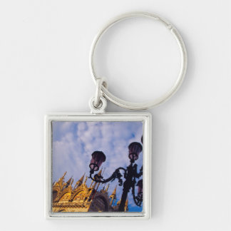 Europe, Italy, Venice. Byzantine Basilica and Silver-Colored Square Key Ring