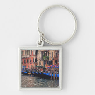 Europe, Italy, Venice, gondolas in canal Silver-Colored Square Key Ring