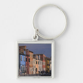 Europe, Italy, Venice. Multi, colored houses Silver-Colored Square Key Ring