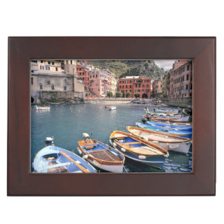 Europe, Italy, Vernazza. Brightly painted boats Keepsake Box