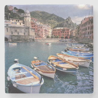 Europe, Italy, Vernazza. Brightly painted boats Stone Coaster
