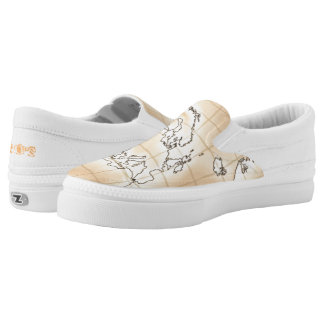 ~Europe~ Khaki Brown Map Slip On Shoes